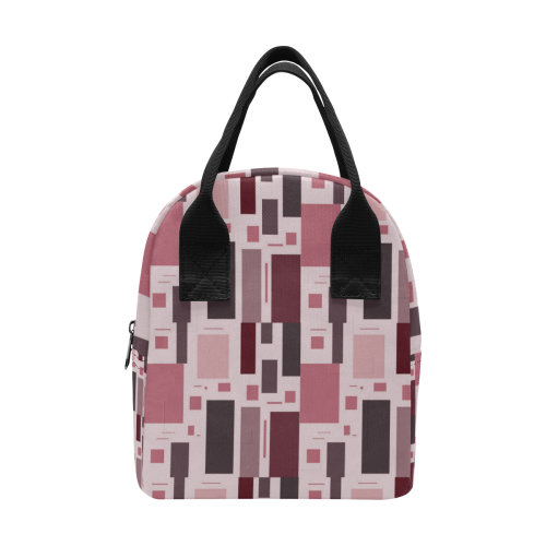 Abstract Burgundy Squares Zipper Lunch Bag (Model 1689)