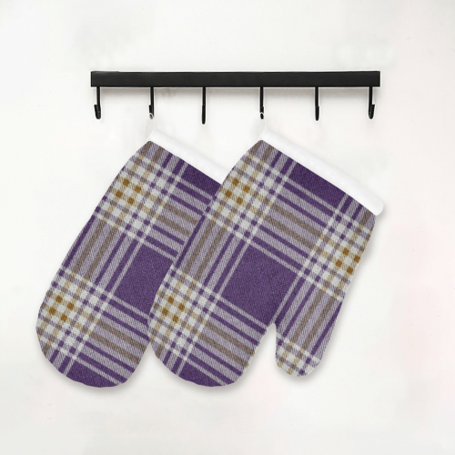 Purple Gold Plaid Oven Mitt (Two Pieces)