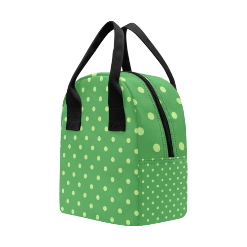 Green Polka Dots Insulated Zipper Lunch Bag (Model 1689)