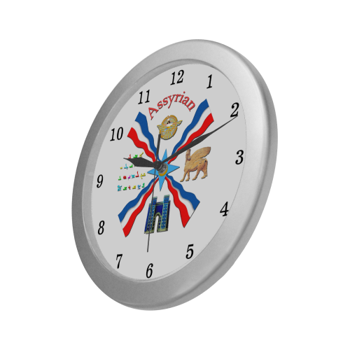 Assyrian Pride Silver Color Wall Clock