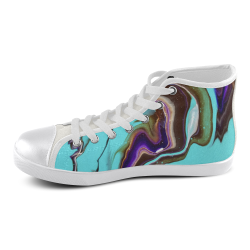 electric turqoise high top Women's High Top Canvas Shoes (Model 002)