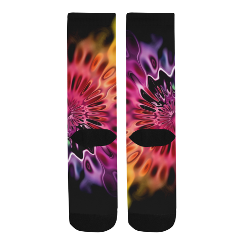 Magic Flower Flames Fractal - Psychedelic Colors Trouser Socks (For Men)