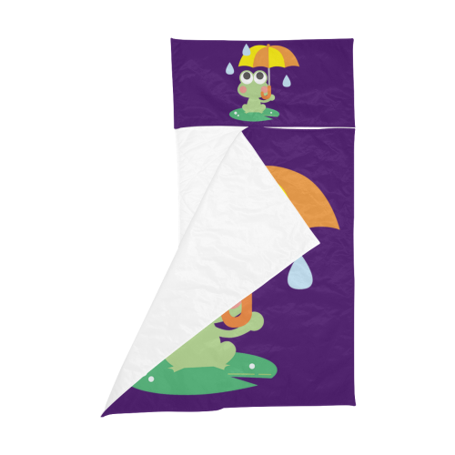 Cute Frog With Umbrella Purple Kids' Sleeping Bag