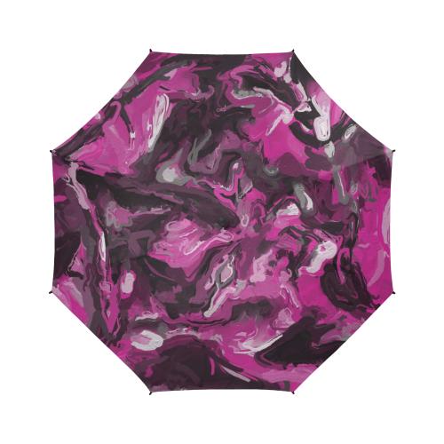 Pink, Black, White, and Gray Swirls Semi-Automatic Foldable Umbrella (Model U05)