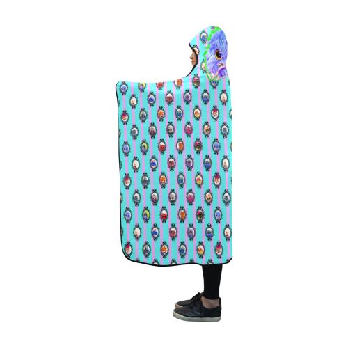 Grid_TealLilac Hooded Blanket 60''x50''