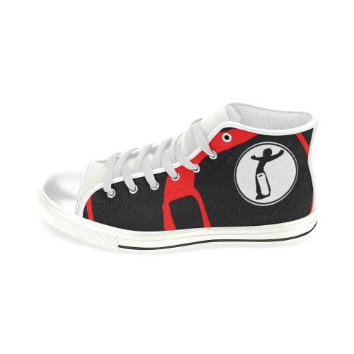 DW Full remix Blk wht red love Men's Classic High Top Canvas Shoes (Model 017)