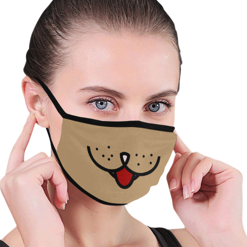 Cute Animal Mouth on Brown Mouth Mask