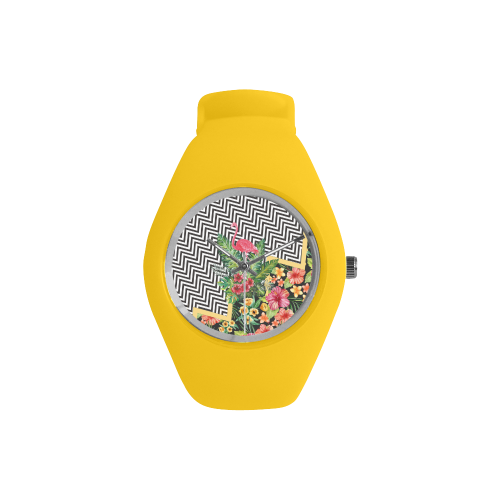 Amazing Flamingo Chevron Simple Style Candy Silicone Watch (Model 315)