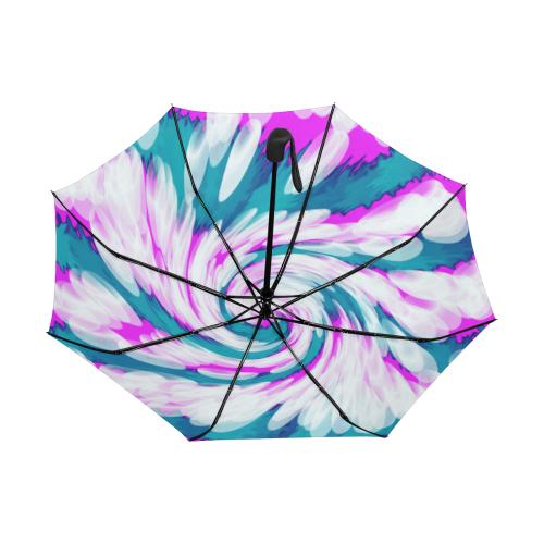 Turquoise Pink Tie Dye Swirl Abstract Anti-UV Auto-Foldable Umbrella (Underside Printing) (U06)