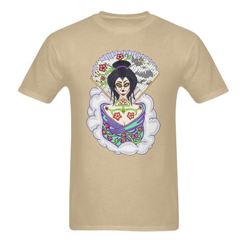 Geisha Sugar Skull Sand Men's Heavy Cotton T-Shirt (Plus-size)