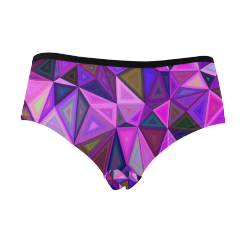 Bright Purple Triangles Women's Mid Rise Briefs (Model L26)