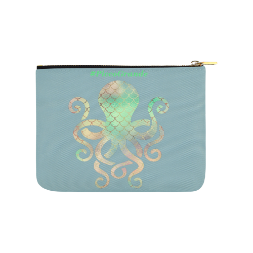 PiccoGrande`s octopus with whale rainy sky Carry-All Pouch 8''x 6''