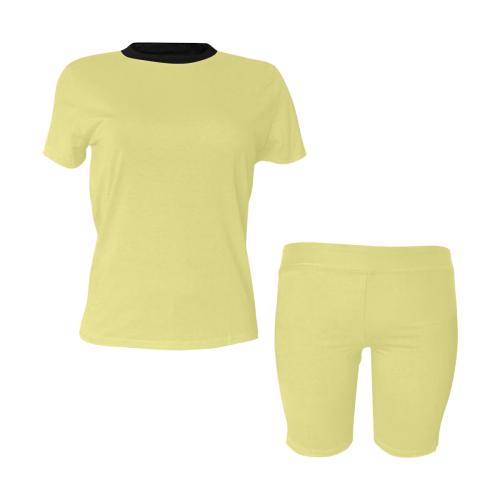 color khaki Women's Short Yoga Set (Sets 03)