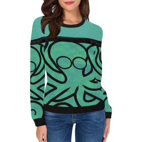 Octo-Doodle-Pus Green Women's Fringe Detail Sweatshirt (Model H28)