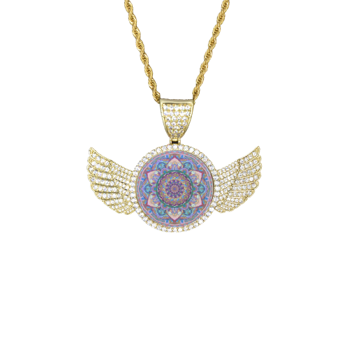 indian mandala 3 Wings Gold Photo Pendant with Rope Chain