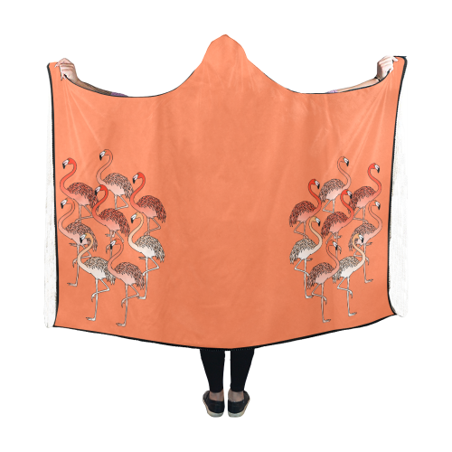 Living Coral Color Flamingos Hooded Blanket 60''x50''