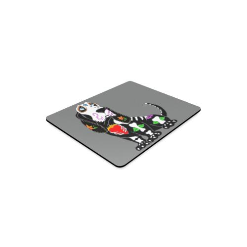 Basset Hound Sugar Skull Grey Rectangle Mousepad