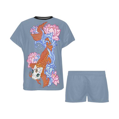 Sugar Skull Koi Fish Faded Denim Women's Short Pajama Set (Sets 01)