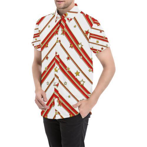 STARS & STRIPES red gold white Men's All Over Print Short Sleeve Shirt (Model T53)