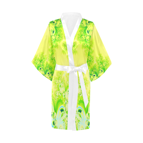 Sunny Spring Frost  Fractal Abstract Kimono Robe