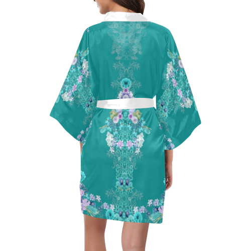 floral-green Kimono Robe