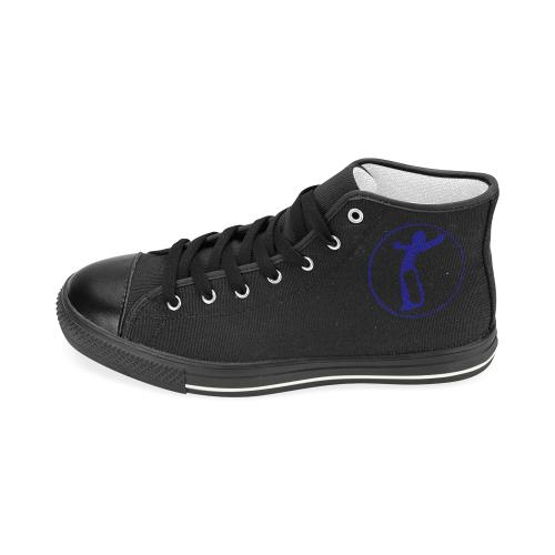DW blk blue love Men's Classic High Top Canvas Shoes (Model 017)