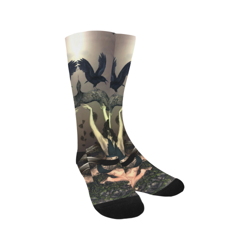 Beautiful fairy with crow Trouser Socks (For Men)