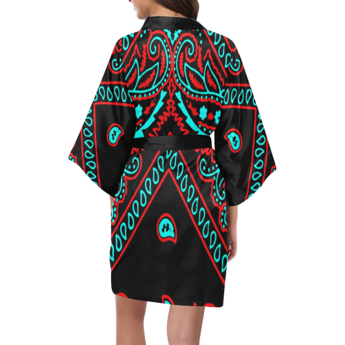 blue and red bandana version 4 Kimono Robe
