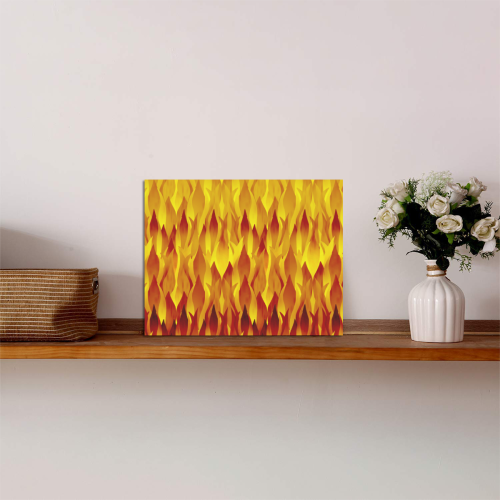 """Hot Fire and Flames Illustration Photo Panel for Tabletop Display 8""""x6"""""""