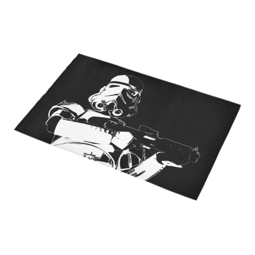 Black & White Stormtrooper Stamp Bath Rug 16x28 Bath Rug 16''x 28''