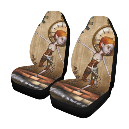 Steampunk girl, clocks and gears Car Seat Covers (Set of 2)