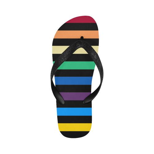 Rainbow Stripes with Black Flip Flops for Men/Women (Model 040)