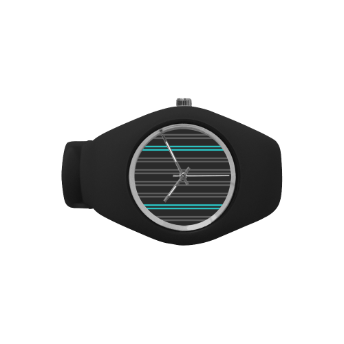 Gray/Aqua Stripes on Black Background Simple Style Candy Silicone Watch (Model 315)
