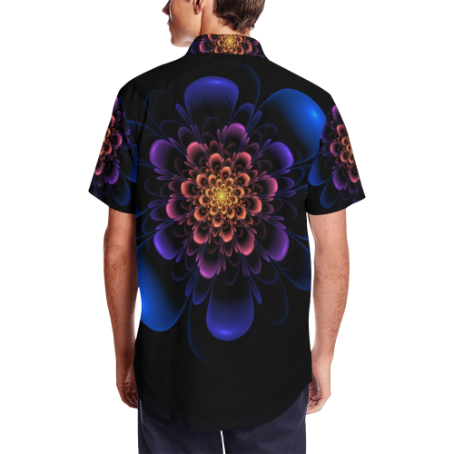 Fractal Bloom Men's Short Sleeve Shirt with Lapel Collar (Model T54)