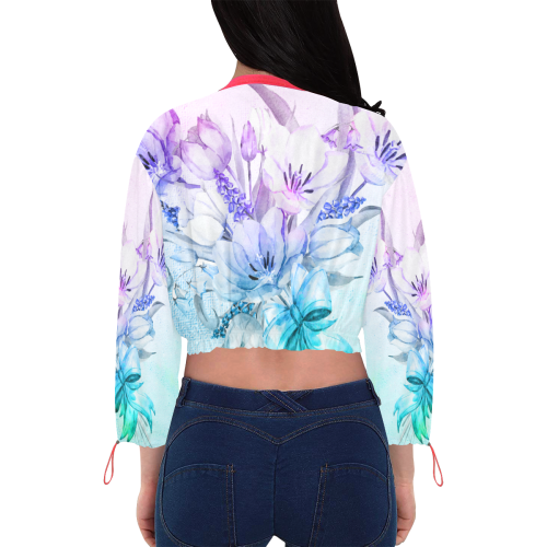 Wonderful flowers in soft watercolors Cropped Chiffon Jacket for Women (Model H30)