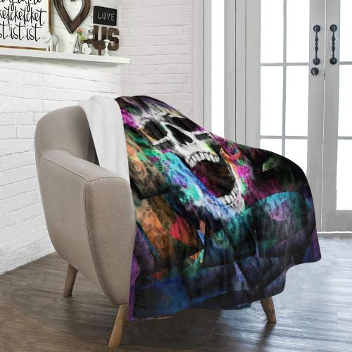 """Skull Popart by Nico Bielow Ultra-Soft Micro Fleece Blanket 40""""x50"""""""