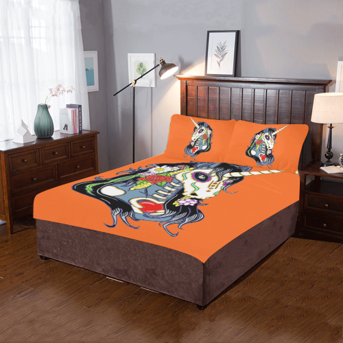 Spring Flower Unicorn Skull Orange 3-Piece Bedding Set