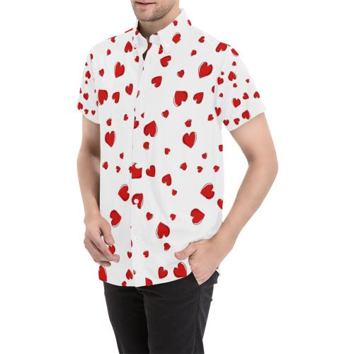 Red Hearts Floating on White Men's All Over Print Short Sleeve Shirt (Model T53)