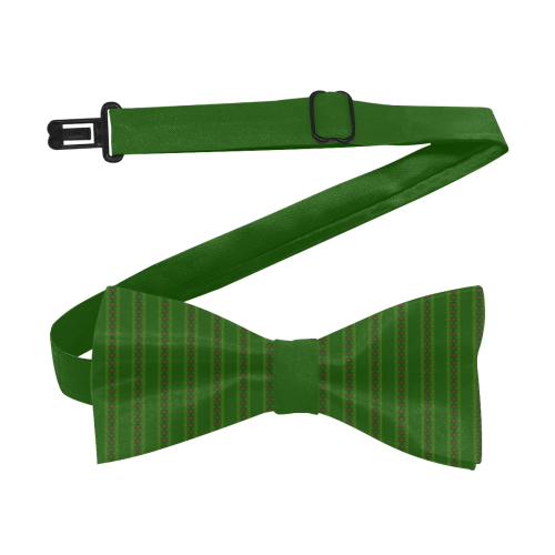 African Diagonal Green Flowers Custom Bow Tie