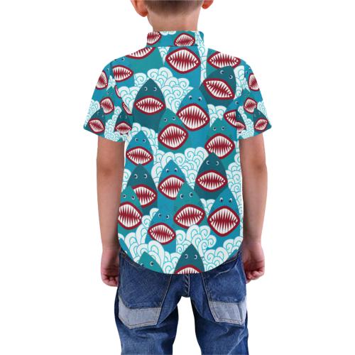 Angry Sharks Boys' All Over Print Short Sleeve Shirt (Model T59)