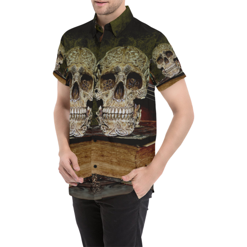 Funny Skull and Book Men's All Over Print Short Sleeve Shirt/Large Size (Model T53)