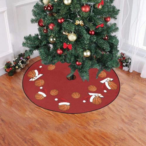 """Christmas Basketballs Red Christmas Tree Skirt 47"""" x 47"""""""