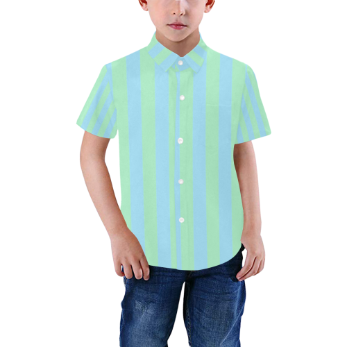 Blue Green Sea Stripes Boys' All Over Print Short Sleeve Shirt (Model T59)