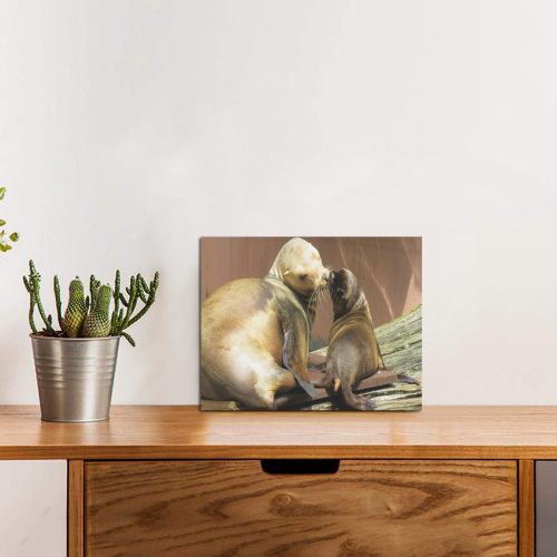 "Seal Kisses Photo Panel for Tabletop Display 8""x6"""