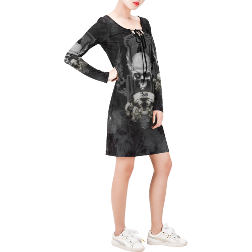 Skull with crow in black and white Long Sleeve String Tie Dress (Model D54)