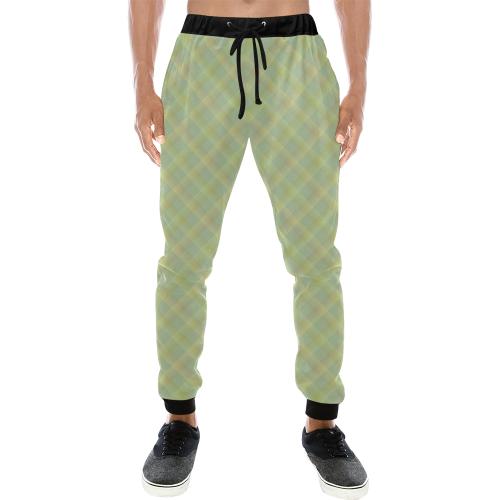 Pastel Lime Orange Crisscross Stripes Men's All Over Print Sweatpants (Model L11)