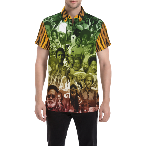 Reggae Tiger Men's All Over Print Short Sleeve Shirt/Large Size (Model T53)