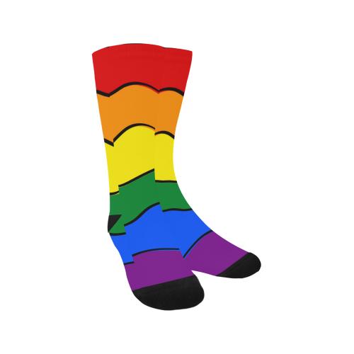 Gay Pride - Rainbow Flag Waves Stripes 1 Trouser Socks (For Men)