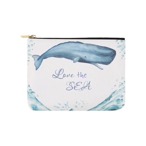 Love the Sea watercolor whale and jellyfishes dark blue-white by PiccoGrande Carry-All Pouch 8''x 6''