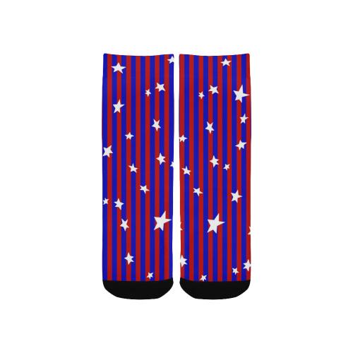 Stars with Blue and Red Stripes Kids' Custom Socks